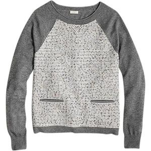 J.Crew Tweed-front Baseball Style Gray Sweater XS